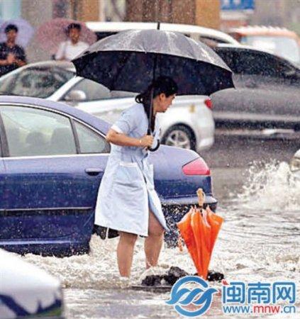 """晋江一女子冒雨为无盖窨井插伞示警 被赞""""雨中美人"""""""